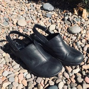 B.O.C Black Leather Strap Clogs • NWOT